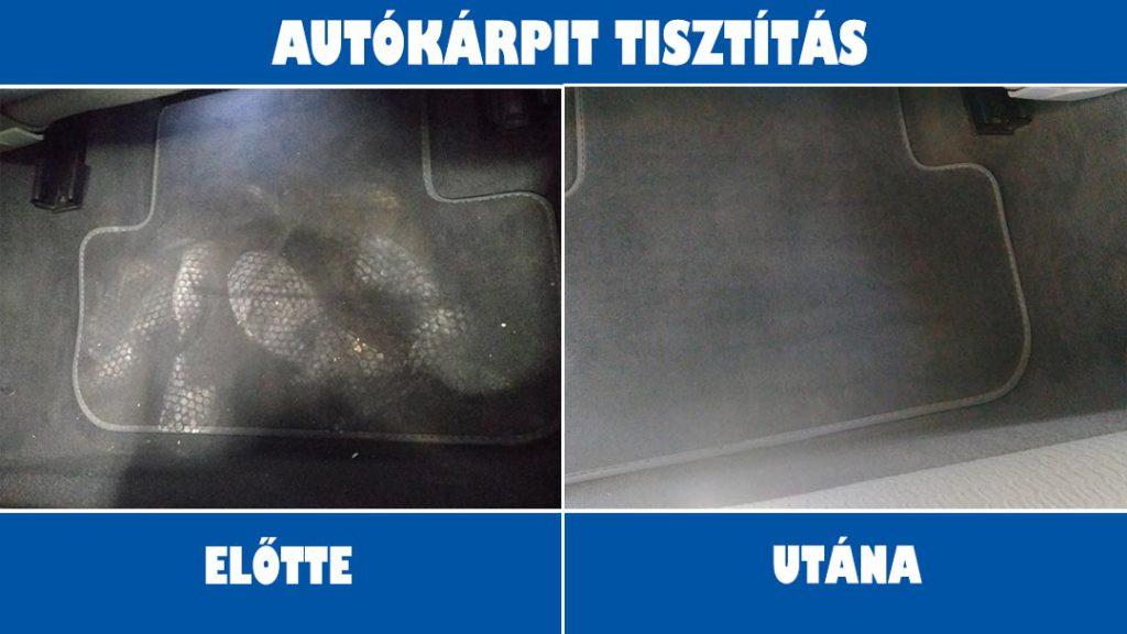 Autókárpit tisztítás előtt-után
